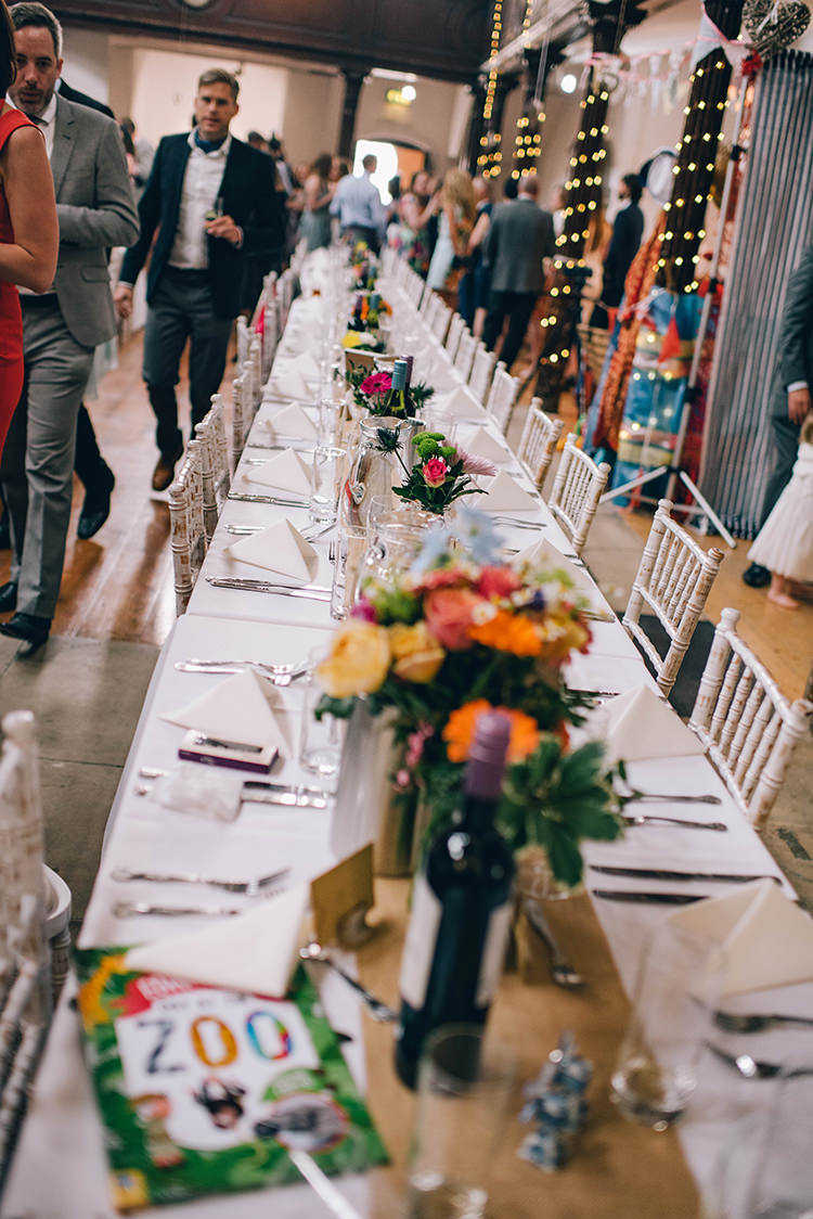 Table Setting Multicoloured Flowers Chilvari Chairs Fabrica Colourful Fun Party Brighton Wedding http://jmcsweeneyphotography.co.uk/