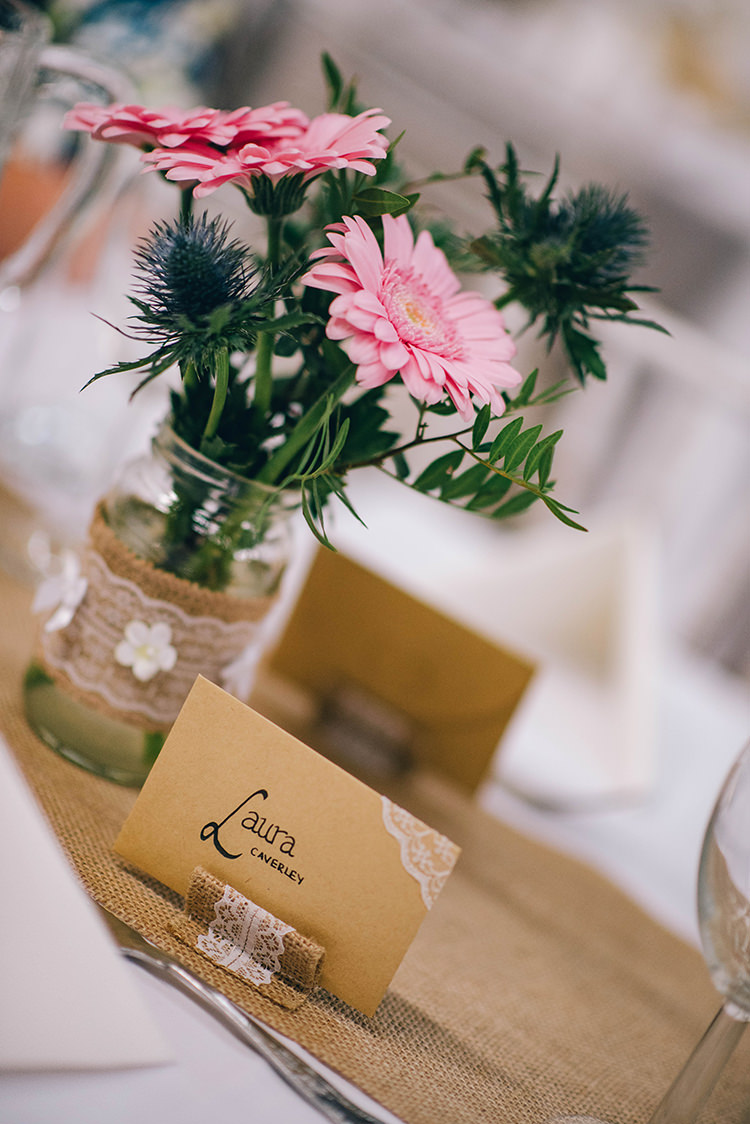 Table Setting Place Card Hessian Lace Pink Gerbera Colourful Fun Party Brighton Wedding http://jmcsweeneyphotography.co.uk/