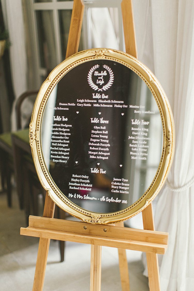 Gold Mirror Table Plan Seating Chart Natural Romantic Chateau Destination Wedding South of France http://www.jayrowden.com/