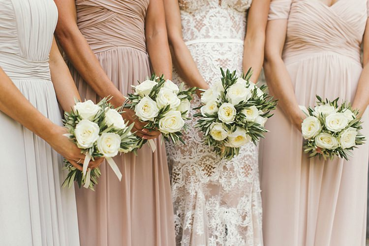 Bride Bridal Bridesmaids Pink White Rose Olive Bouquet Dessy Natural Romantic Chateau Destination Wedding South of France http://www.jayrowden.com/