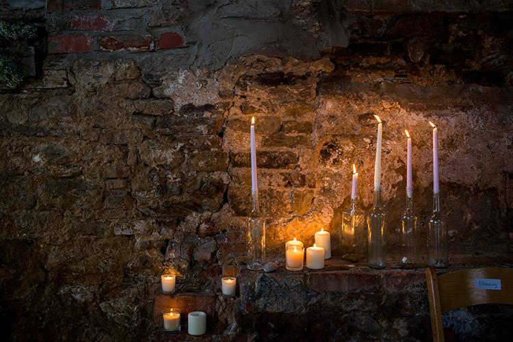 Candles Decor Barn Stylish Winter Glamour Wedding http://lunaweddings.co.uk/