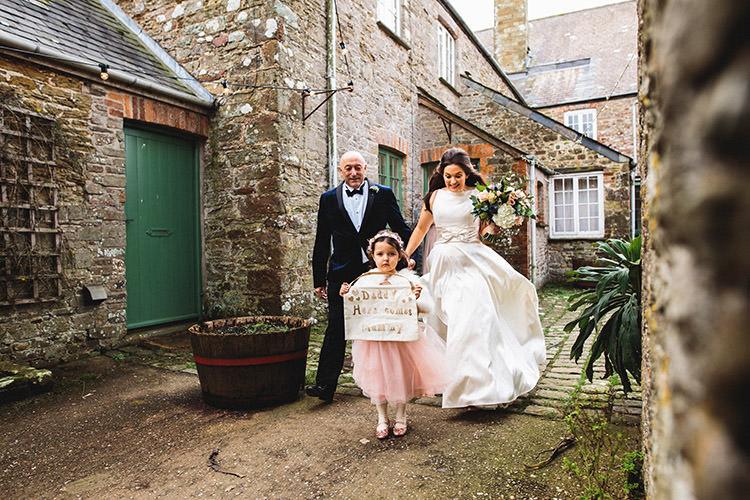 Flower Girl Sign Daddy Here Comes Mummy Stylish Winter Glamour Wedding http://lunaweddings.co.uk/