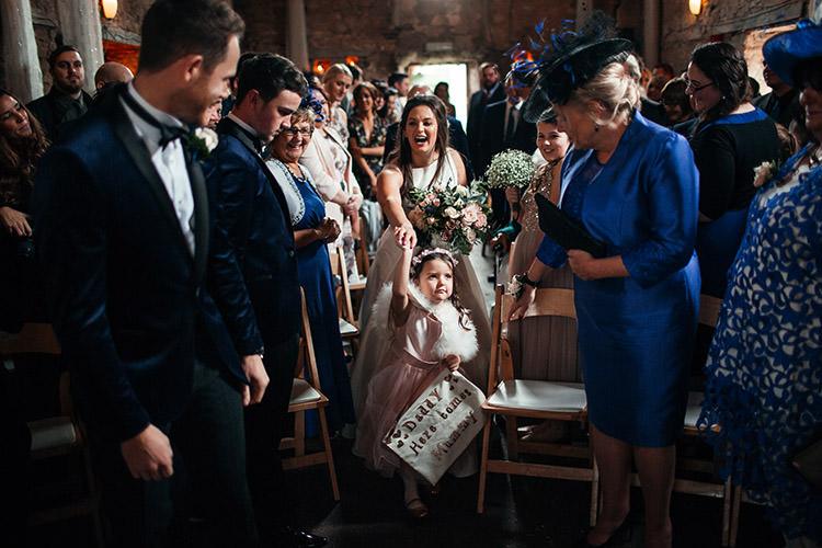 Flower Girl Daddy Here Comes Mummy Sign Aisle Stylish Winter Glamour Wedding http://lunaweddings.co.uk/