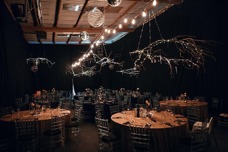 Dark Draping Fabric Reception Lighting Branches Gold Sequins Stylish Winter Glamour Wedding http://lunaweddings.co.uk/