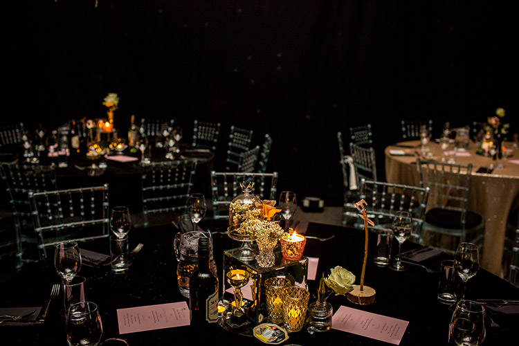 Sequin Table Cloths Mirror Centrepieces Gold Flowers Candles Stylish Winter Glamour Wedding http://lunaweddings.co.uk/
