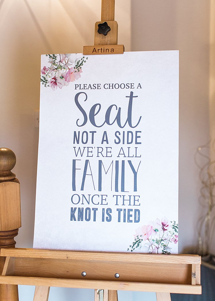 Ceremony Sign Easel Romantic Soft Pastels Barn Wedding http://www.sungblue.com/