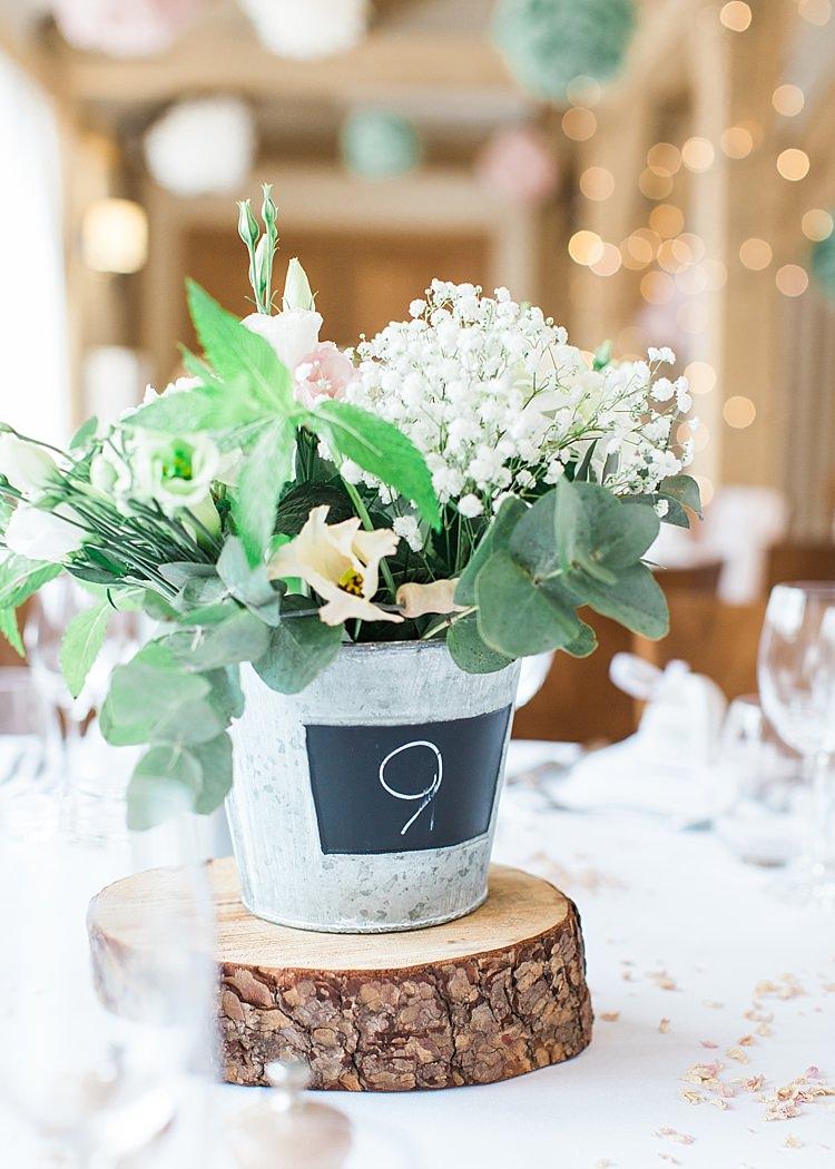 Table Number Table Centre Gypsophila Metal Bucket Greenery Romantic Soft Pastels Barn Wedding http://www.sungblue.com/