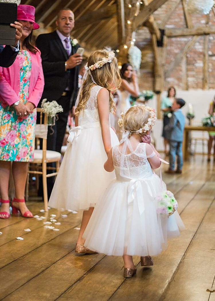 Flower Girl Floral Crown Ball Romantic Soft Pastels Barn Wedding http://www.sungblue.com/