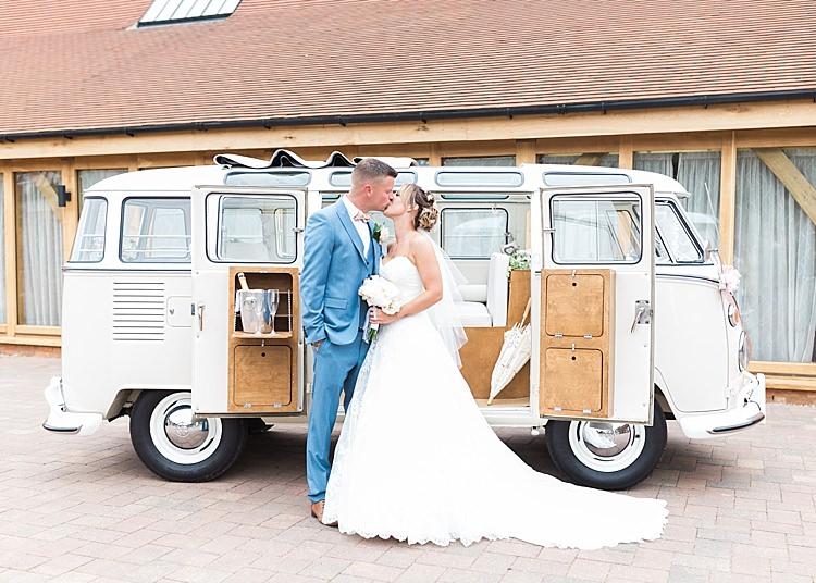 Cream Camper Van VW Romantic Soft Pastels Barn Wedding http://www.sungblue.com/