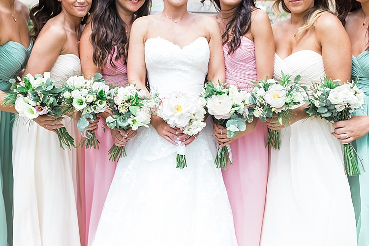 Bride Bridesmaids Green Pink Cream For Her And For Him Romantic Soft Pastels Barn Wedding http://www.sungblue.com/