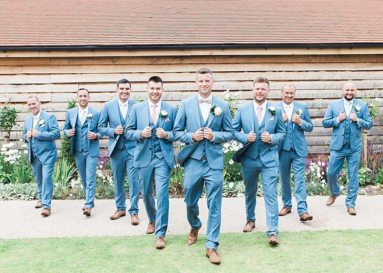 Groom Groomsmen Next Bow Tie Tan Shoes Romantic Soft Pastels Barn Wedding http://www.sungblue.com/