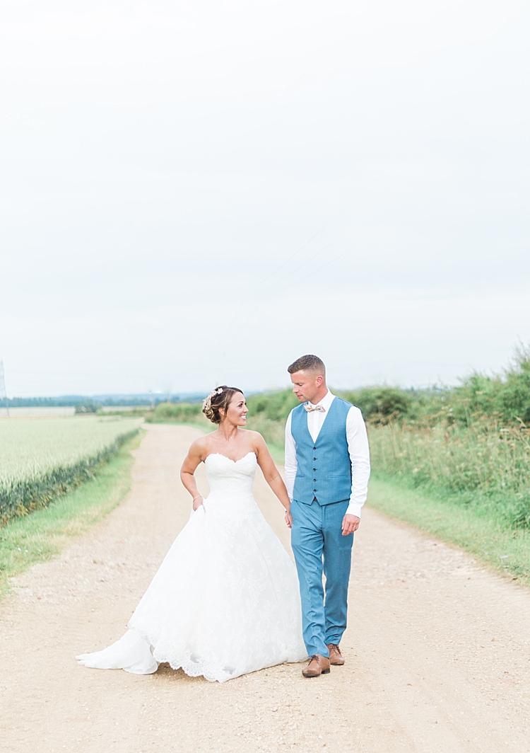 Bride Bridal Groom Lilian West Ballgown Next Romantic Soft Pastels Barn Wedding http://www.sungblue.com/
