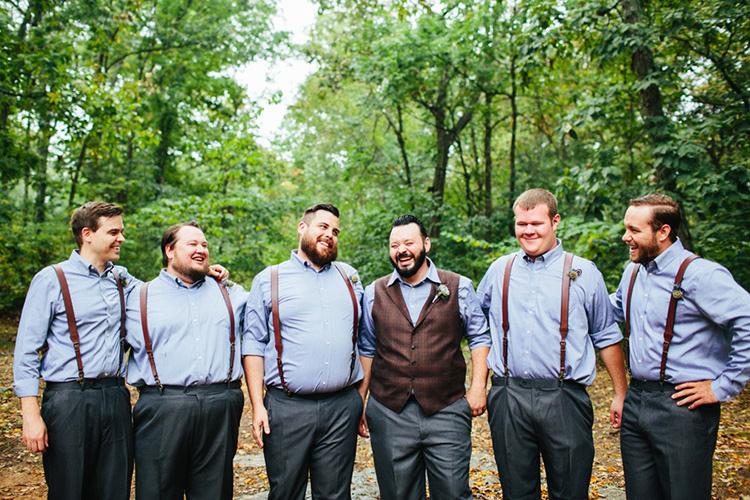 Groom Dark Grey Pants Light Grey Shirt Custom Made Vest Floral Buttonhole Groomsmen Dark Grey Pants Light Grey Shirts Leather Suspenders Creative Quirky Rustic Barn Wedding Tennessee http://www.alexbeephoto.com/