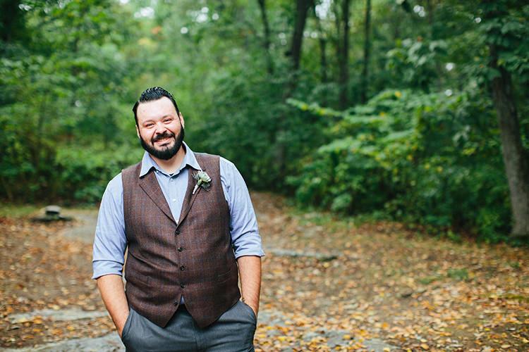 Groom Dark Grey Pants Light Grey Shirt Custom Made Vest Floral Buttonhole Creative Quirky Rustic Barn Wedding Tennessee http://www.alexbeephoto.com/