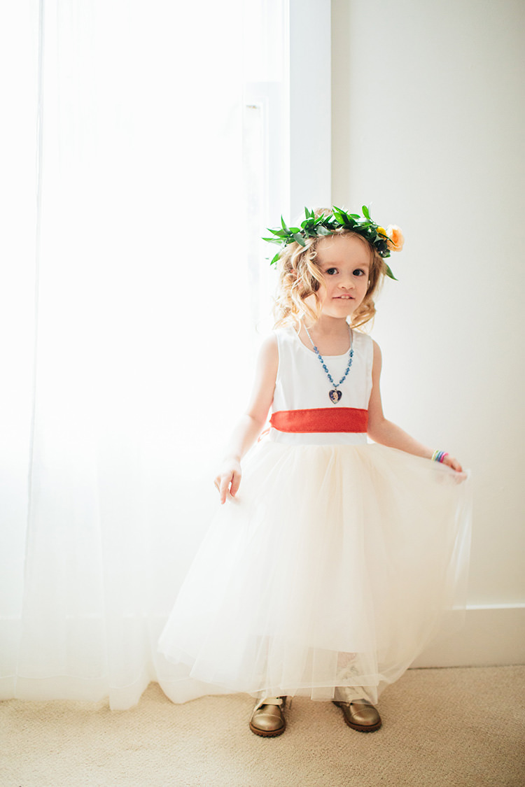 Flowergirl White Dress Rust Ribbon Floral Crown Gold Shoes Creative Quirky Rustic Barn Wedding Tennessee http://www.alexbeephoto.com/