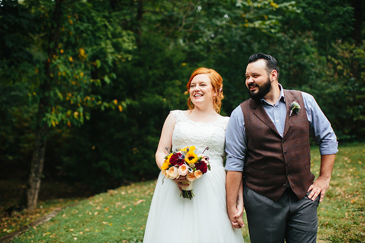 First Look Bride Lace Tulle Bridal Gown Multicoloured Bouquet Groom Dark Grey Pants Light Grey Shirt Custom Vest Creative Quirky Rustic Barn Wedding Tennessee http://www.alexbeephoto.com/