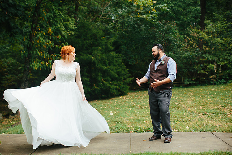 First Look Bride Lace Tulle Bridal Gown Groom Dark Grey Pants Light Grey Shirt Custom Vest Floral Buttonhole Creative Quirky Rustic Barn Wedding Tennessee http://www.alexbeephoto.com/