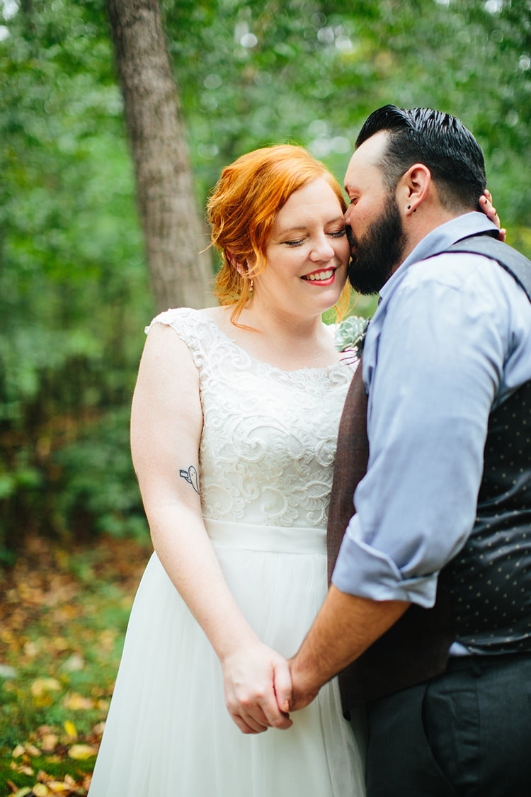 First Look Bride Lace Tulle Bridal Gown Groom Dark Grey Pants Light Grey Shirt Custom Vest Creative Quirky Rustic Barn Wedding Tennessee http://www.alexbeephoto.com/