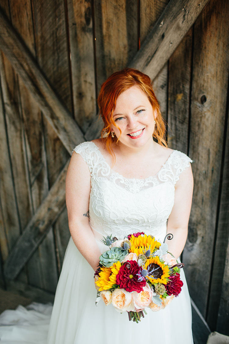 Bride Lace Tulle Bridal Gown Multicoloured Bouquet Sunflowers Peonies Succulents Creative Quirky Rustic Barn Wedding Tennessee http://www.alexbeephoto.com/