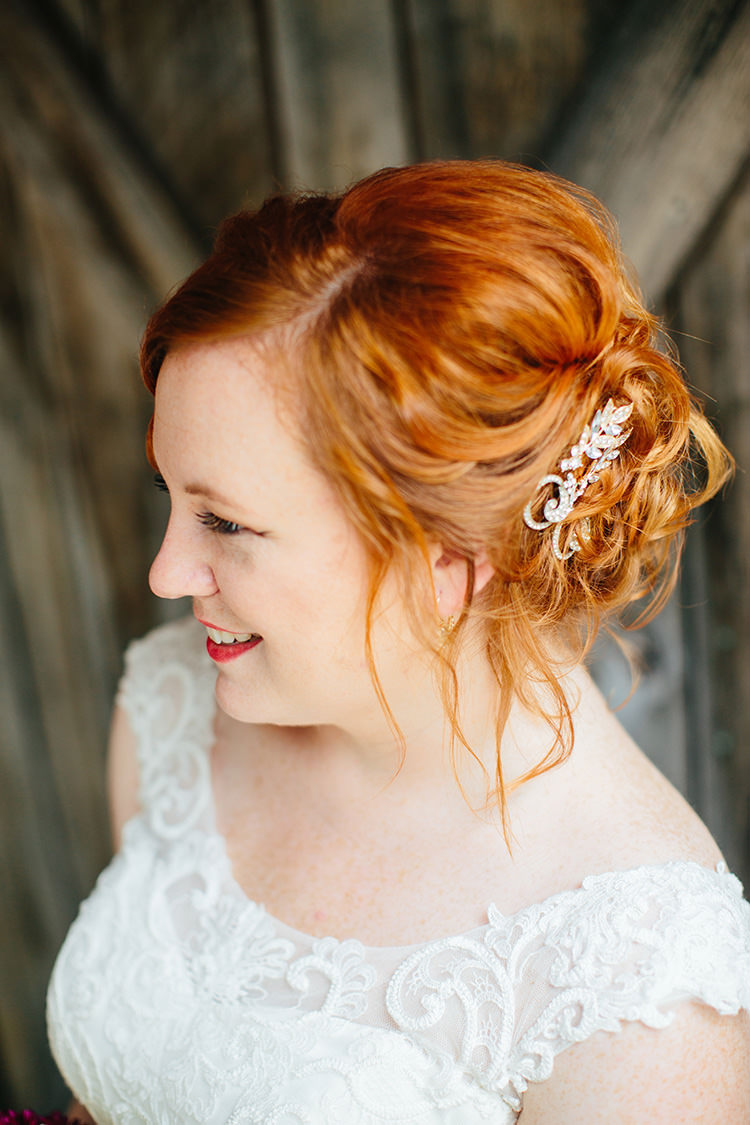 Bride Lace Tulle Bridal Gown Vintage Hairclips Red Lipstick Loose Curls Updo Hairstyle Creative Quirky Rustic Barn Wedding Tennessee http://www.alexbeephoto.com/