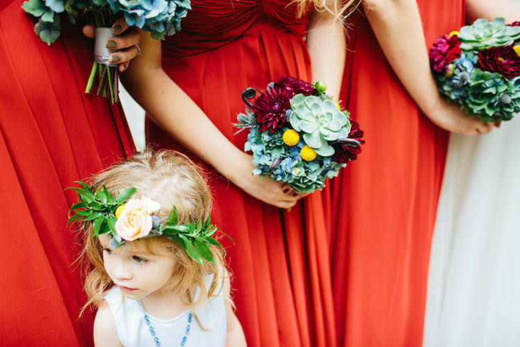 Bridesmaids Rust Long Dresses Bouquets Succulents Maroon Florals Flower Girl White Dress Floral Crown Creative Quirky Rustic Barn Wedding Tennessee http://www.alexbeephoto.com/