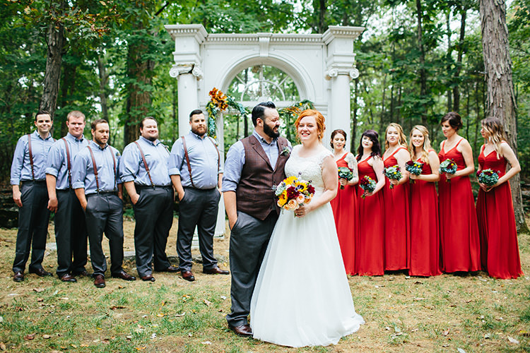 Bridal Party Bride Lace Tulle Bridal Gown Multicoloured Bouquet Groom Dark Grey Pants Light Grey Shirt Custom Vest Bridesmaids Rust Dresses Groomsmen Light Grey Shirts Leather Suspenders Stone Arch Florals Greenery Creative Quirky Rustic Barn Wedding Tennessee http://www.alexbeephoto.com/