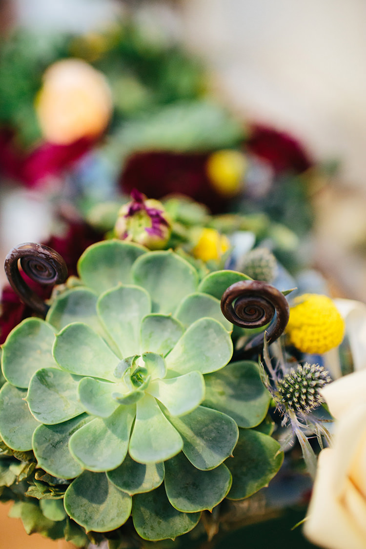Multicoloured Bouquet Succulents Thistle Maroon Florals Creative Quirky Rustic Barn Wedding Tennessee http://www.alexbeephoto.com/
