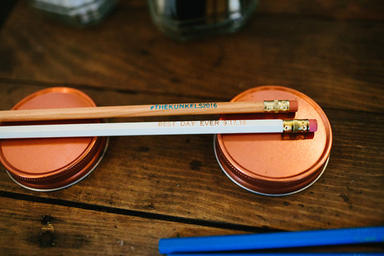 Reception Guest Favours Custom Made Pencils Copper Jar Lids Creative Quirky Rustic Barn Wedding Tennessee http://www.alexbeephoto.com/