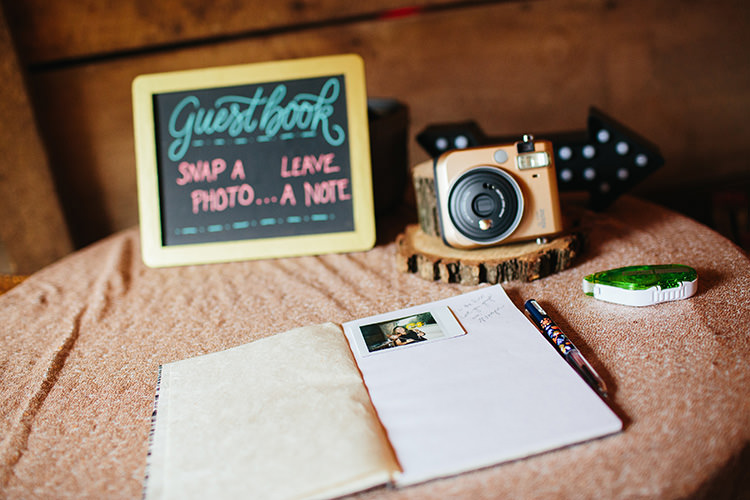 Guestbook Table Polaroid Camera Blackboard Sign Book Pen Creative Quirky Rustic Barn Wedding Tennessee http://www.alexbeephoto.com/