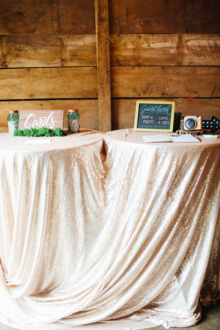 Guestbook Card Tables Wooden Sign Blackboard Sign Jars Polaroid Camera Sequin Tablecloths Creative Quirky Rustic Barn Wedding Tennessee http://www.alexbeephoto.com/