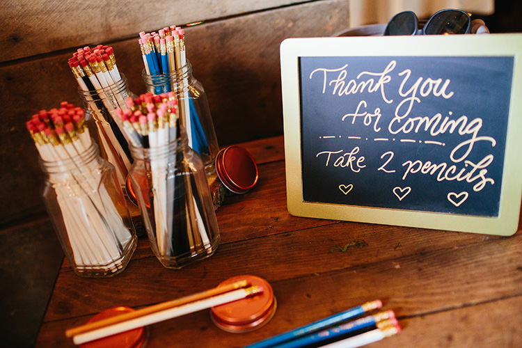 Reception Guest Favours Custom Made Pencils Blackboard Sign Creative Quirky Rustic Barn Wedding Tennessee http://www.alexbeephoto.com/