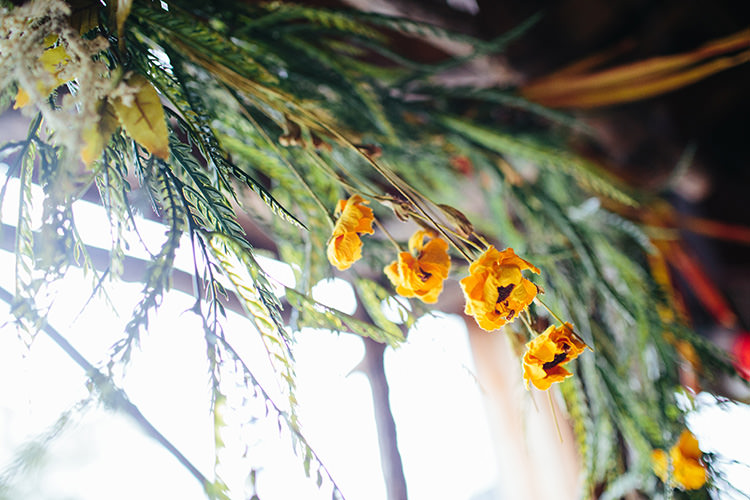 Indoor Barn Ceremony Floral Arch Yellow Flowers Greenery Creative Quirky Rustic Barn Wedding Tennessee http://www.alexbeephoto.com/
