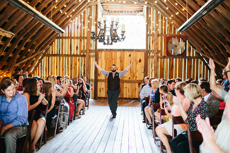 Indoor Barn Ceremony Groom Entrance Dancing Guests Fairy Lights Creative Quirky Rustic Barn Wedding Tennessee http://www.alexbeephoto.com/