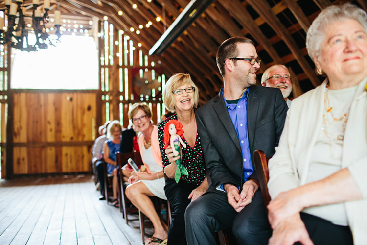 Indoor Barn Ceremony Guests Ariel Doll Fairy Lights Creative Quirky Rustic Barn Wedding Tennessee http://www.alexbeephoto.com/