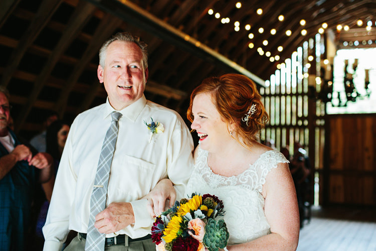 Indoor Barn Ceremony Bride Lace Tulle Bridal Gown Multicoloured Bouquet Father Entrance Guests Fairy Lights Creative Quirky Rustic Barn Wedding Tennessee http://www.alexbeephoto.com/