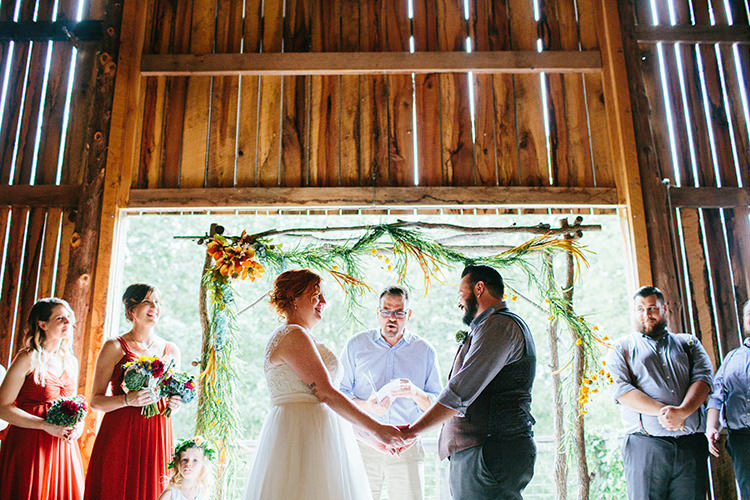 Indoor Barn Ceremony Bride Lace Tulle Bridal Gown Groom Light Grey Shirt Custom Vest Floral Arch Celebrant Bridesmaids Groomsmen Creative Quirky Rustic Barn Wedding Tennessee http://www.alexbeephoto.com/
