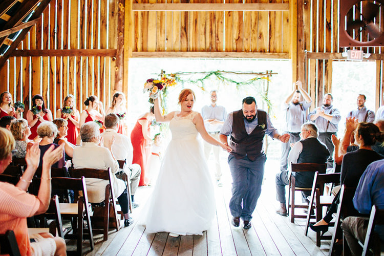 Indoor Barn Ceremony Bride Lace Tulle Bridal Gown Multicoloured Bouquet Groom Light Grey Shirt Custom Vest Dancing Floral Arch Guests Bridal Party Creative Quirky Rustic Barn Wedding Tennessee http://www.alexbeephoto.com/