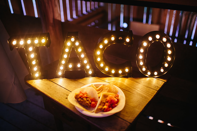 Reception Taco Station Light-Up Sign Creative Quirky Rustic Barn Wedding Tennessee http://www.alexbeephoto.com/