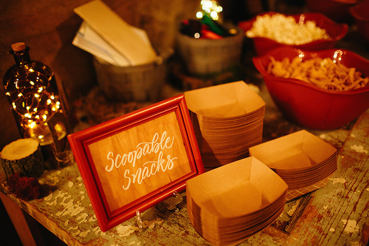 Reception Scoopable Snacks Station Wooden Sign Fairy Lights Bottle Creative Quirky Rustic Barn Wedding Tennessee http://www.alexbeephoto.com/