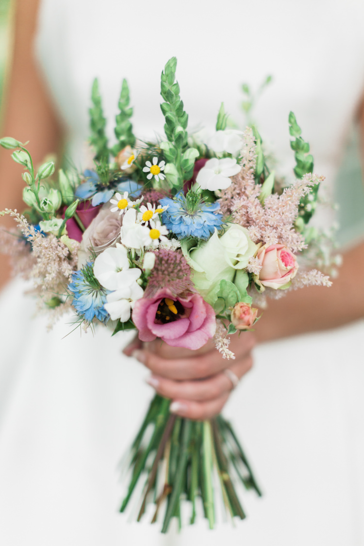Bouquet Pink Blue Delicate Pretty Flowers Bride Bridal Astilbe Summer Daisy Rose Beautifully Romantic Eclectic Tipi Wedding http://www.jobradbury.co.uk/