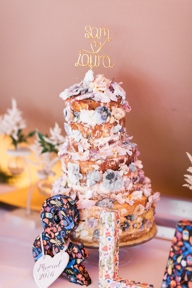 Naked Cake Sponge Layer Fruit Icing Flowers Topper Beautifully Romantic Eclectic Tipi Wedding http://www.jobradbury.co.uk/
