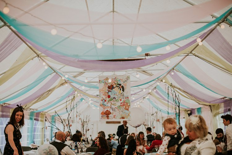 Marquee Drapes Festoon Lights Creative Woodland Mad Hatters Tea Party Wedding https://www.clairefleckphotography.com/
