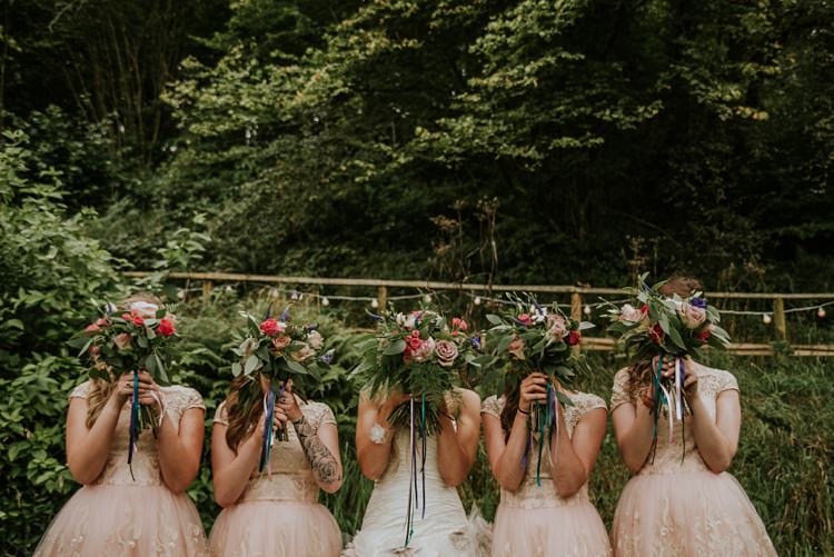 Bridesmaid Bouquets Roses Ferns Large Creative Woodland Mad Hatters Tea Party Wedding https://www.clairefleckphotography.com/