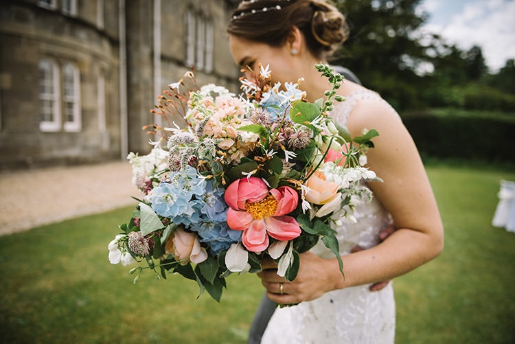 Bride Bridal Bouquet Peony Hydrangea Pink Blue Greenery Scenic Outdoor Loch Lomond Wedding http://www.lisadevinephotography.co.uk/