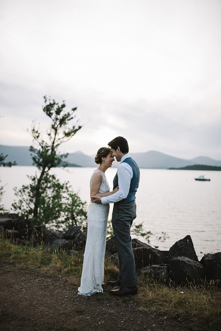 Bride Bridal Jenny Packham Dress Gown Hairpiece Steven Purvis Bespoke Groom Scenic Outdoor Loch Lomond Wedding http://www.lisadevinephotography.co.uk/