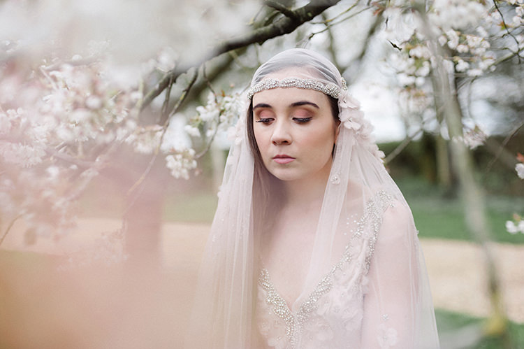 Juliet Cap Veil Bride Bridal Flowers Accessory Style Vintage Cherry Blossom Soft Spring Wedding Ideas http://www.photographybybea.co.uk/