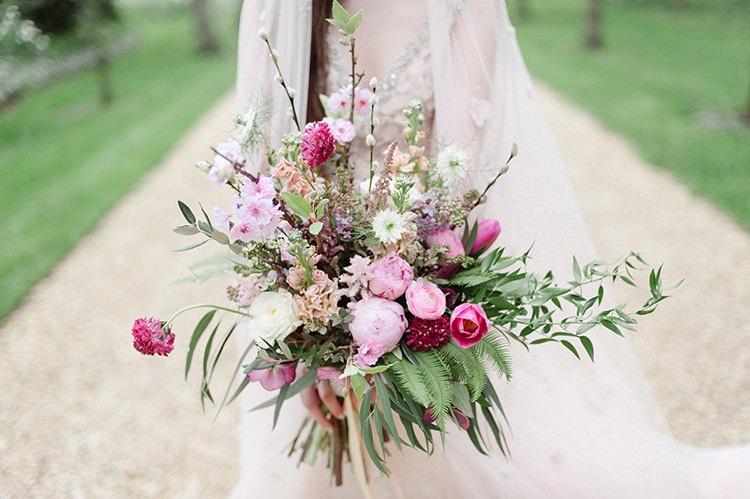 Flowers Bouquet Brida Bridal Pink Fern Peony Peonies Wild Natural Organic Whimsical Cherry Blossom Soft Spring Wedding Ideas http://www.photographybybea.co.uk/