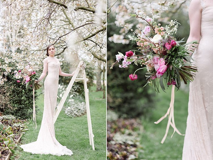 Ladder Bride Bridal Cherry Blossom Soft Spring Wedding Ideas http://www.photographybybea.co.uk/