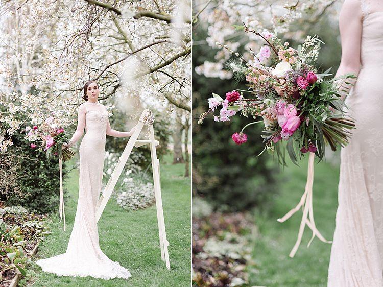 Ladder Bride Bridal Cherry Blossom Soft Spring Wedding Ideas http://www.photographybybea.co.uk/