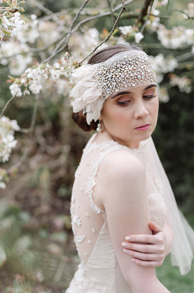 Beaded Fore Head Band Accessory Bride Bridal Scarf Veil Cherry Blossom Soft Spring Wedding Ideas http://www.photographybybea.co.uk/